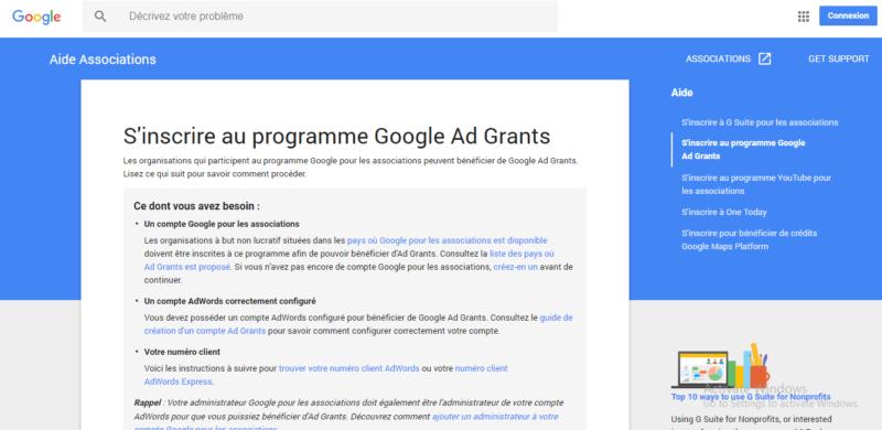 campagne google ad grants