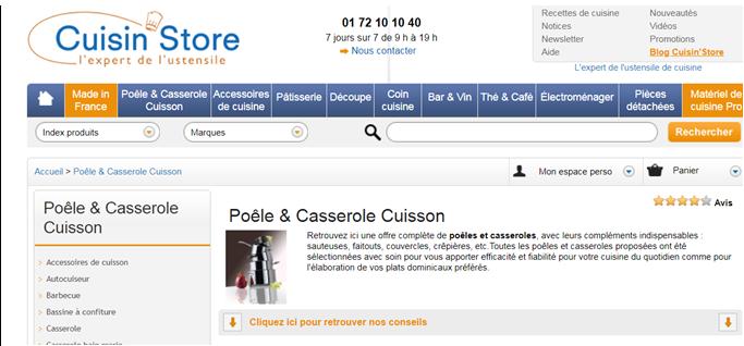 Figure 1 : Capture de la page catégorie « Poêles et casseroles | Cuisin'Store » du site Cuisinstore.com